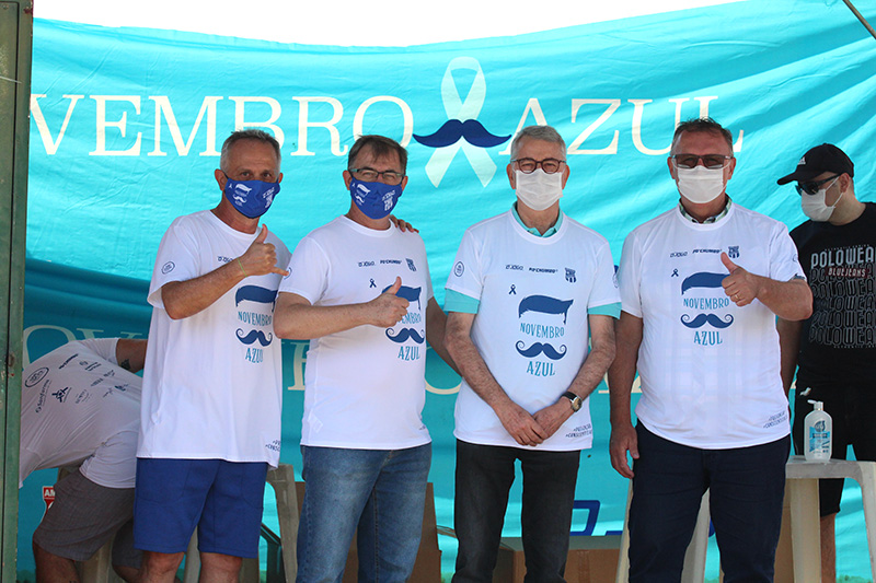Zaramelo Jr., Rogério Panhoca, Chico Sardelli e Odir Demarchi, neste domingo, no Novembro Azul (Foto: Alex Ferreira)